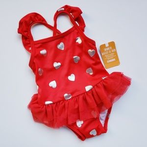 NWT [Gymboree] Red & Silver Tutu Heart Swimsuit